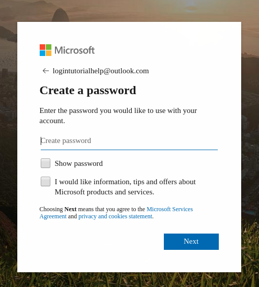 Creating hotmail sign up password