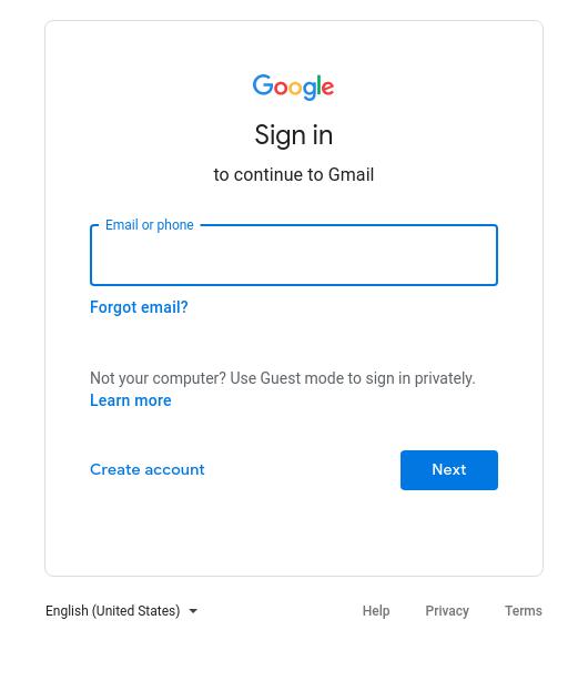 gmail login form