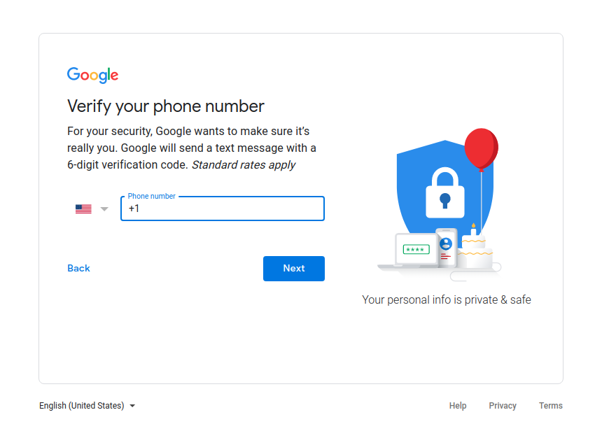 gmail verify phone number