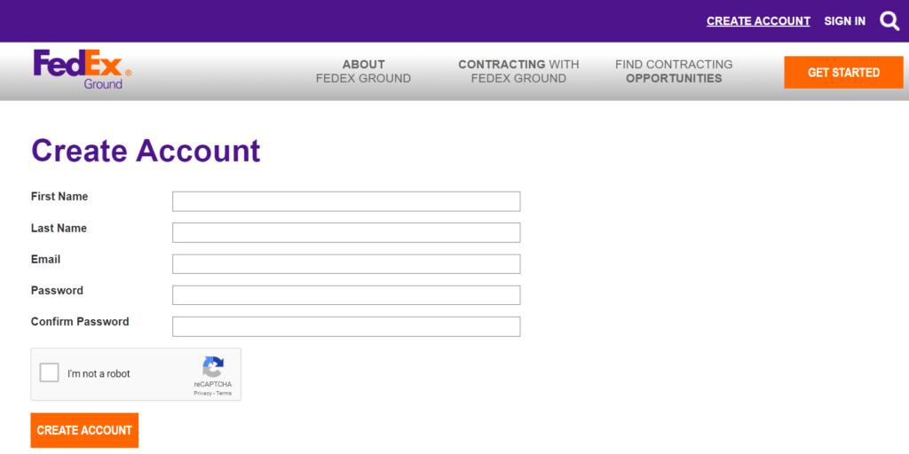 MyGroundBiz Create Account Page