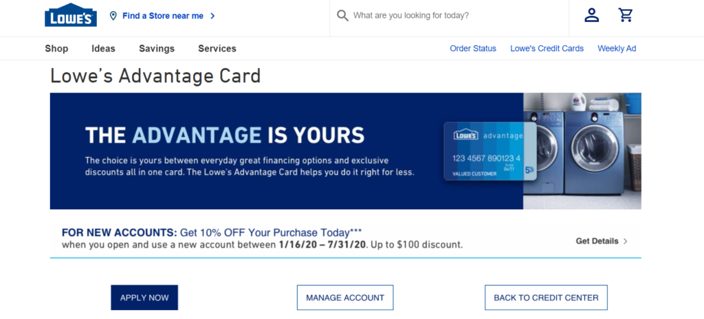 Lowes Advantage Card Apply Page