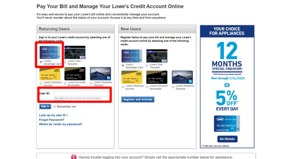 Lowes Credit Card Home Page