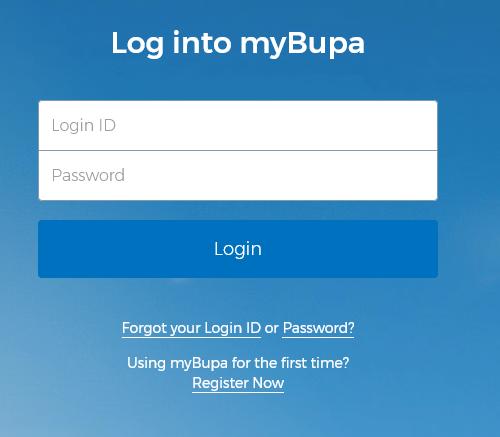 bupa-login page