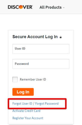 Discover Card Forgot User ID
