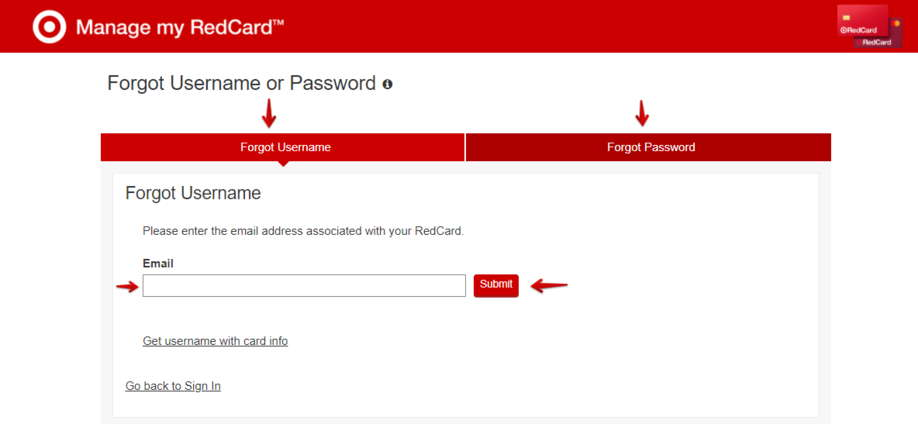 RedCard Forgot Username or Password Page