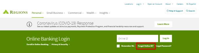 Regions Bank Online Banking Forgot Online ID