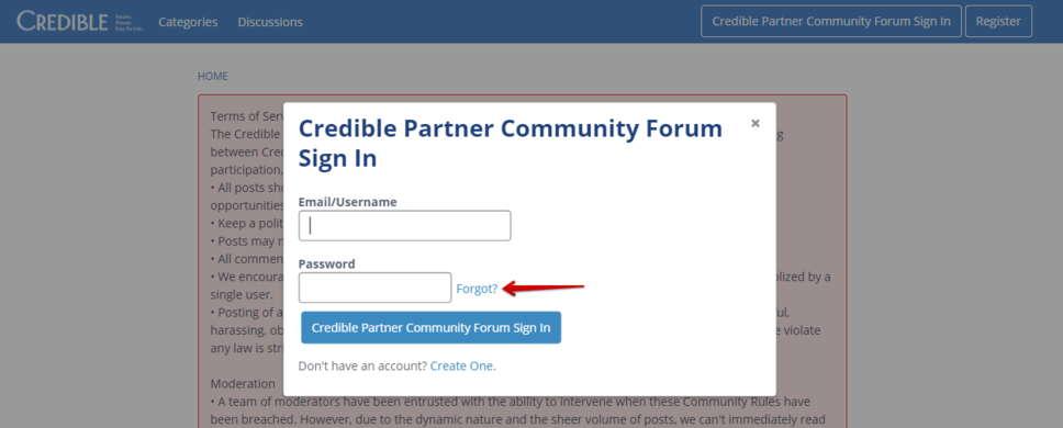 Credible Forum Forgot Password