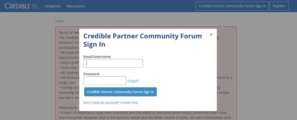 Credible Partner Community Forum Sign In Form