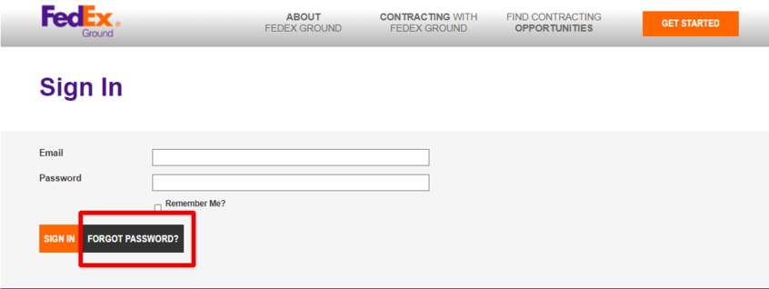 MyGroundBiz FedEx Forgot Password