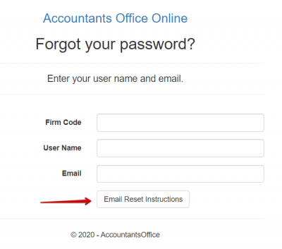 Accountants World Email Reset Page