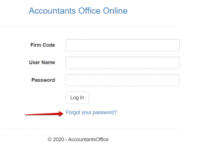 Accountants World Password Reset page