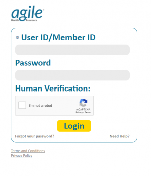 Agile Health Insurance Login Page