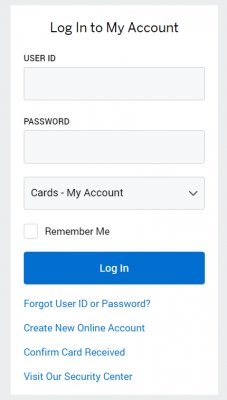 American Express Card Login Page