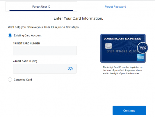 American Express Card Forgot Password Page